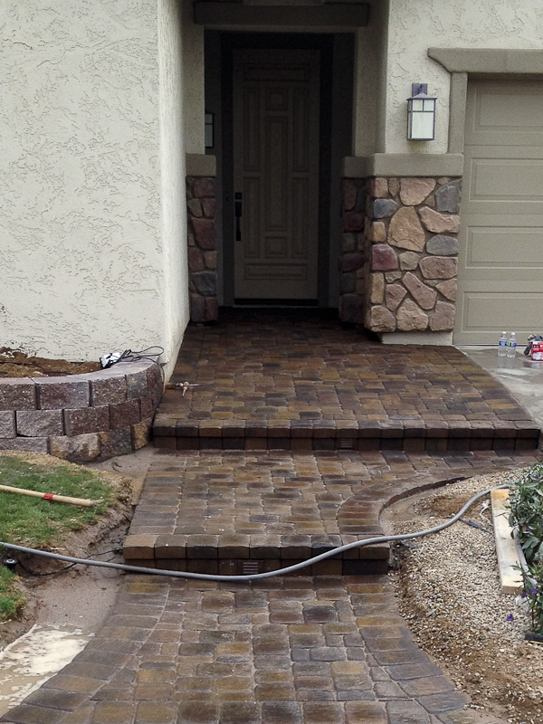 paver walkway and entry